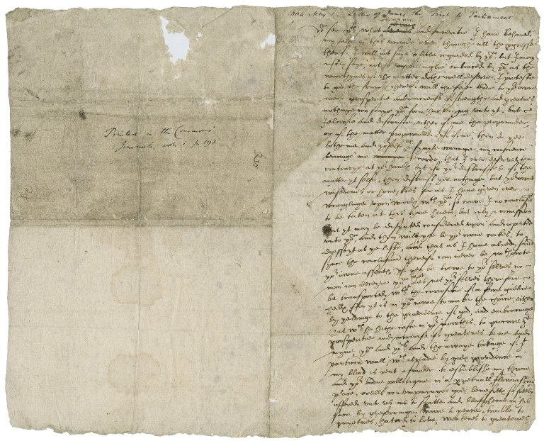 Great Britain. Sovereigns, etc., (James I). Letter. To Parliament.