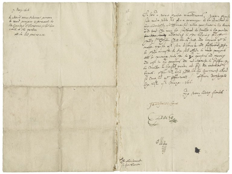 Great Britain. Privy Council. Warrant to Sir George More, Lieutenant of the Tower. Whitehall.