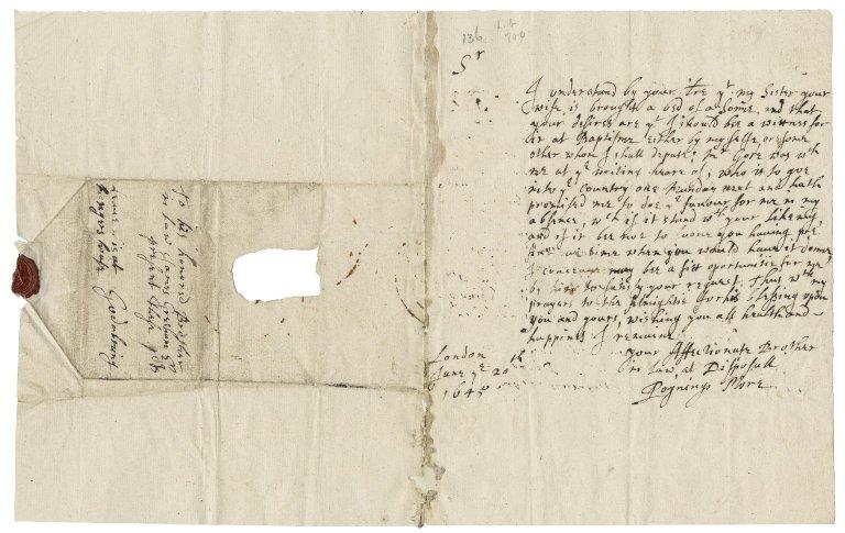 More, Sir Poynings. Letter. To James Gresham, Esq. London.