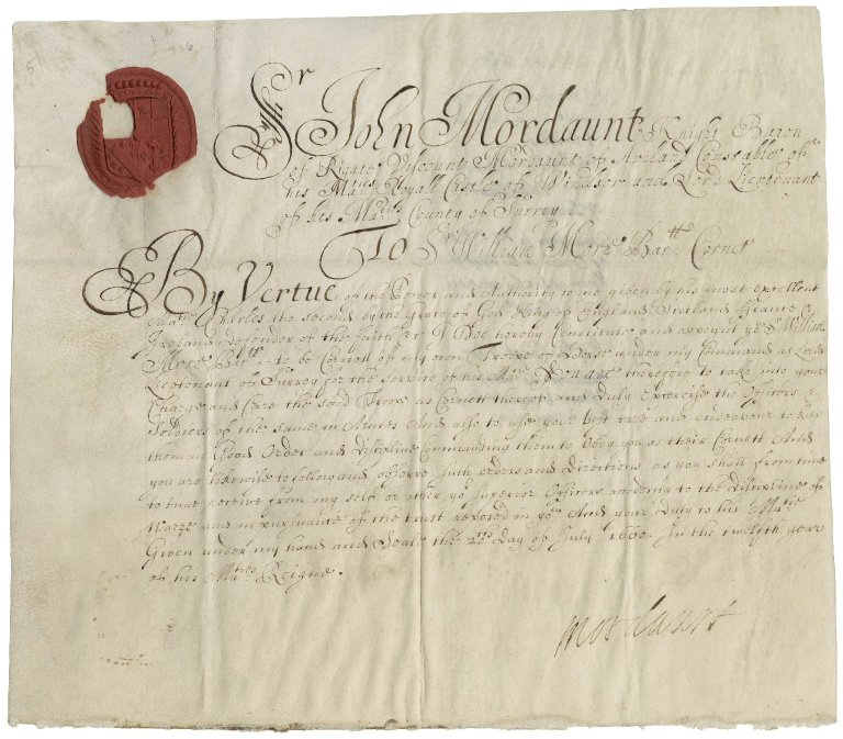 Mordaunt of Avalon, Sir John Mordaunt, Viscount. Appointment of Sir William More, bart., as cornet of troop of horse in Surrey.