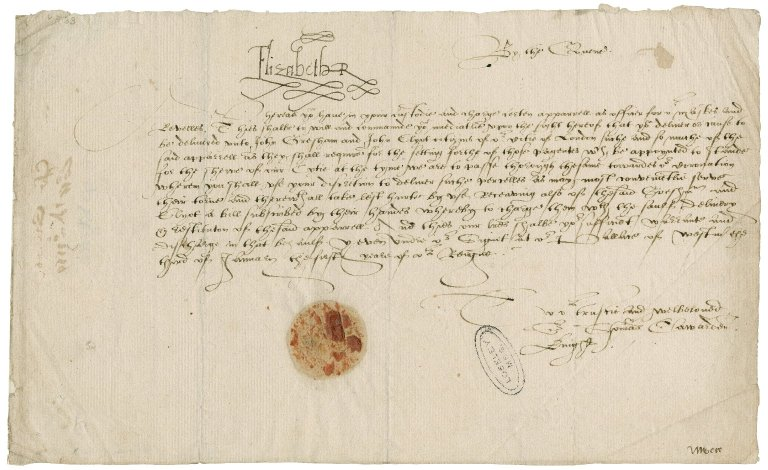 Great Britain. Sovereigns, etc., (Elizabeth I). Whereas you have in youre custodie and charge certen apparell as officer for our Maskes and Revelles... Yeven vnder our Sygnet at our Pallace of Westminster the thyrd of Ianuary the first yeare of our Reigne. To our trustie and welbeloved Sir Thomas Cawarden Knigt.