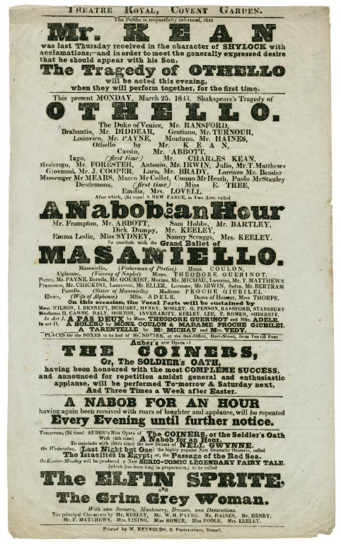 Othello, Theatre Royal, Covent Garden Monday, March 25, 1833