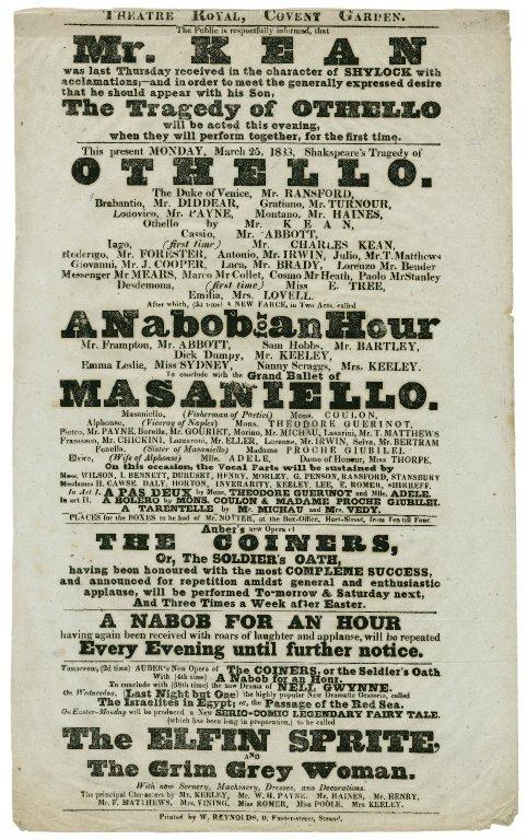 Othello, Theatre Royal, Covent Garden Monday, March 25, 1833