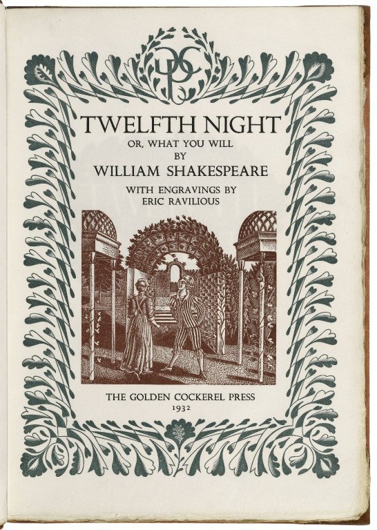 Folger Shakespeare Library Digital Image Collection: engraving by Eric Ravilious (1932)