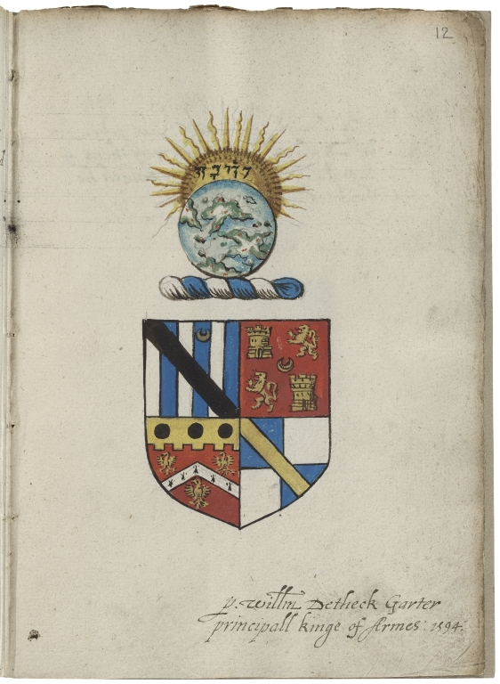 Coats of arms granted by William Dethick as York herald and Garter king of arms.