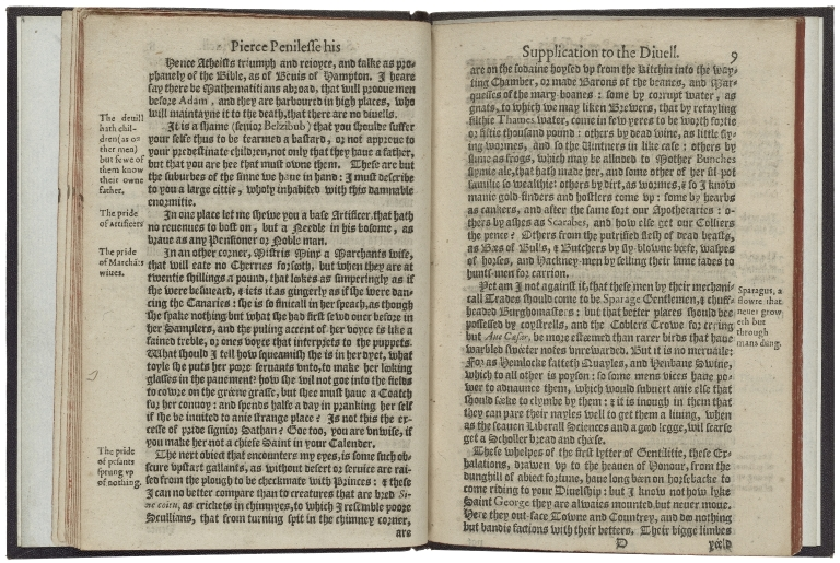 Pierce Penilesse his supplication to the diuell. Describing the ouer-spreading of vice, and suppression of vertue. Pleasantly interlac�d with variable delights: and pathetically intermixt with conceipted reproofes. Written by Thomas Nash Gentleman.