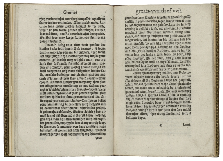 Greenes, groats-vvorth of witte, bought with a million of repentance. Describing the follie of youth, the falshood of makeshifte flatterers, the miserie of the negligent, and mischiefes of deceiuing courtezans. Written before his death and published at his dyeing request.