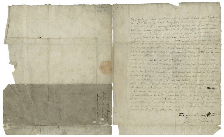 Letter signed from John Whitgift to the Lord Treasurer, Lord Burghley
