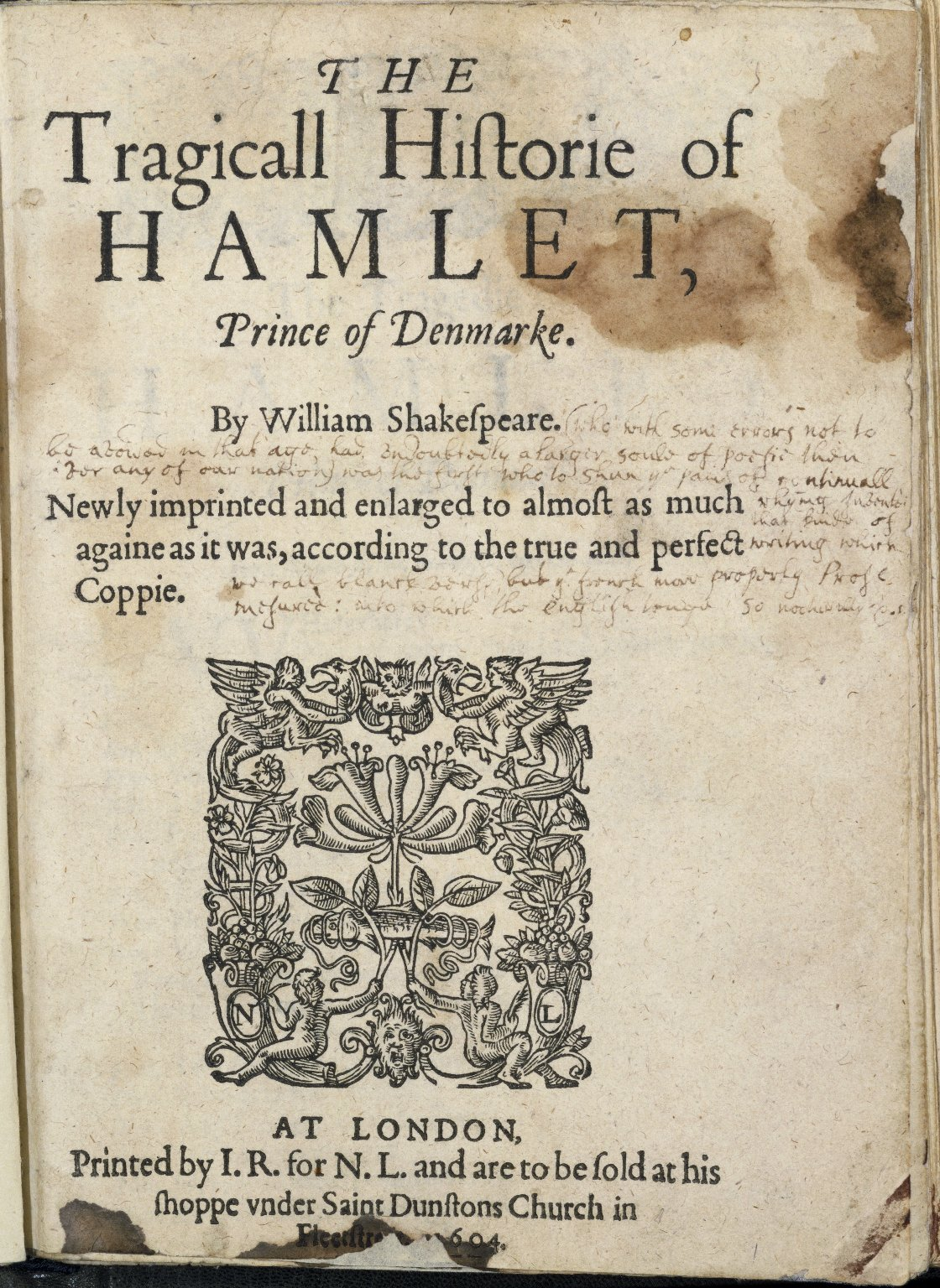 [Hamlet] The tragicall historie of Hamlet, Prince of Denmarke.