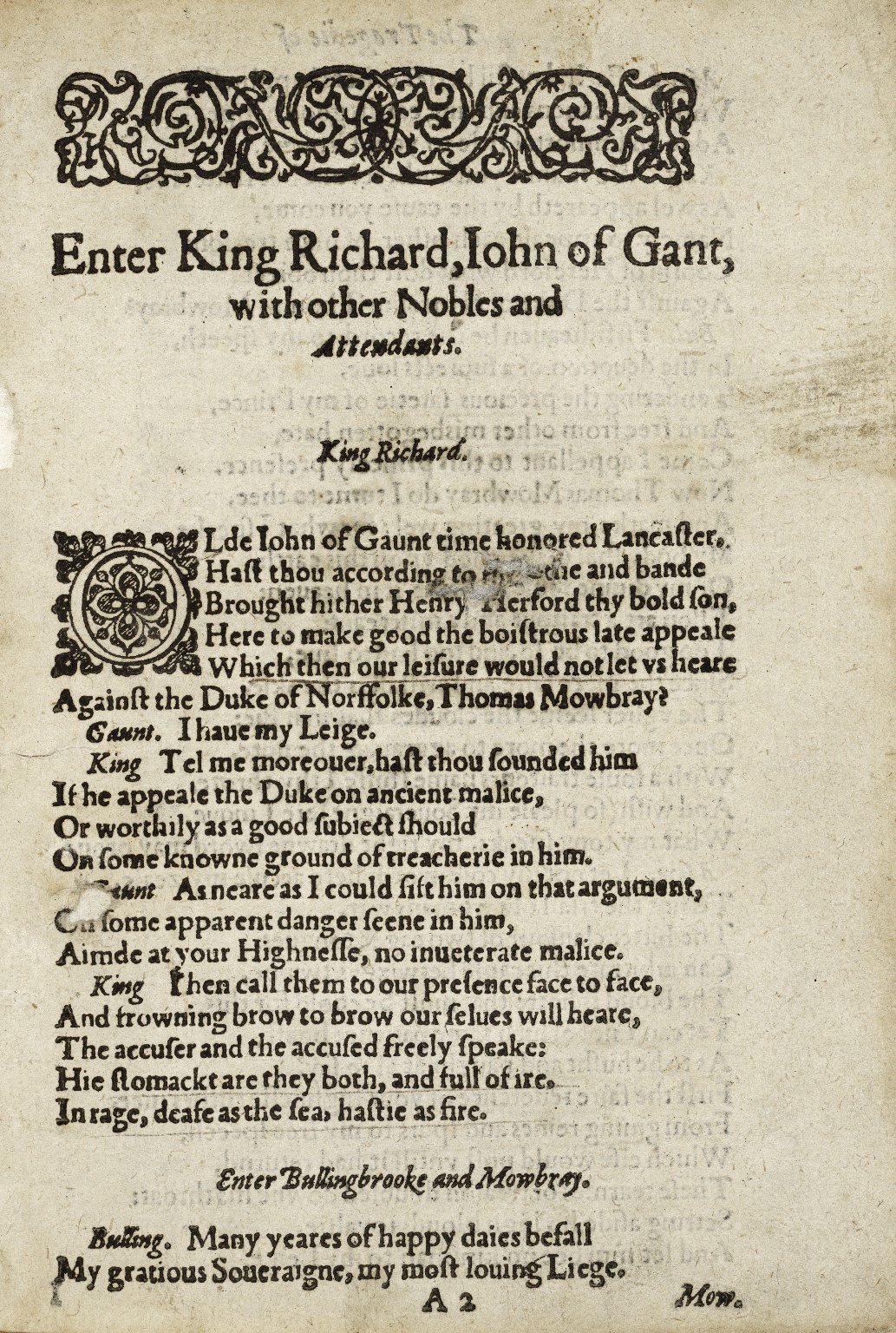 [King Richard II] The tragedie of King Richard the second…