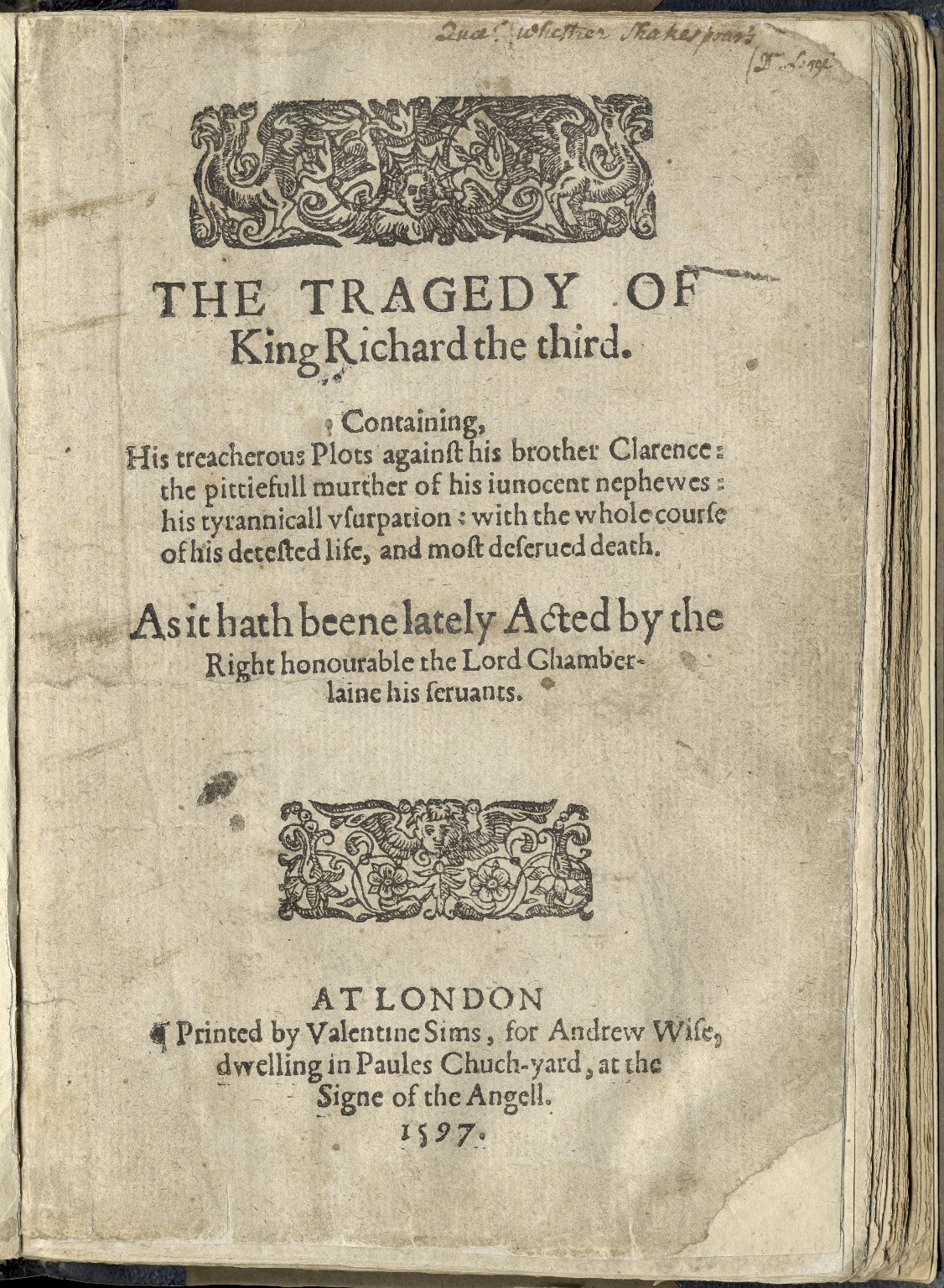[King Richard III] The tragedy of King Richard the third.