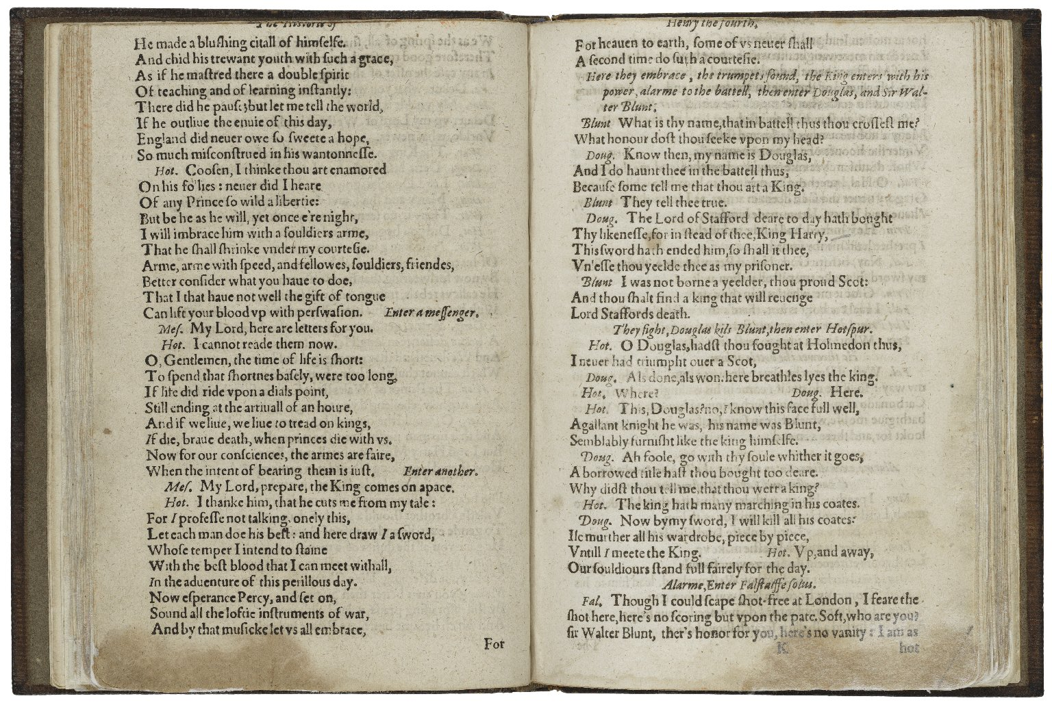 [King Henry IV. Part 1] The history of Henrie the fourth : vvith the battell at Shrewsburie, betweene the King, and Lord Henry Percy, surnamed Henry Hotspur of the north : with the humorous conceits of Sir Iohn Falstalffe [sic] / newly corrected by W. Shake-speare.