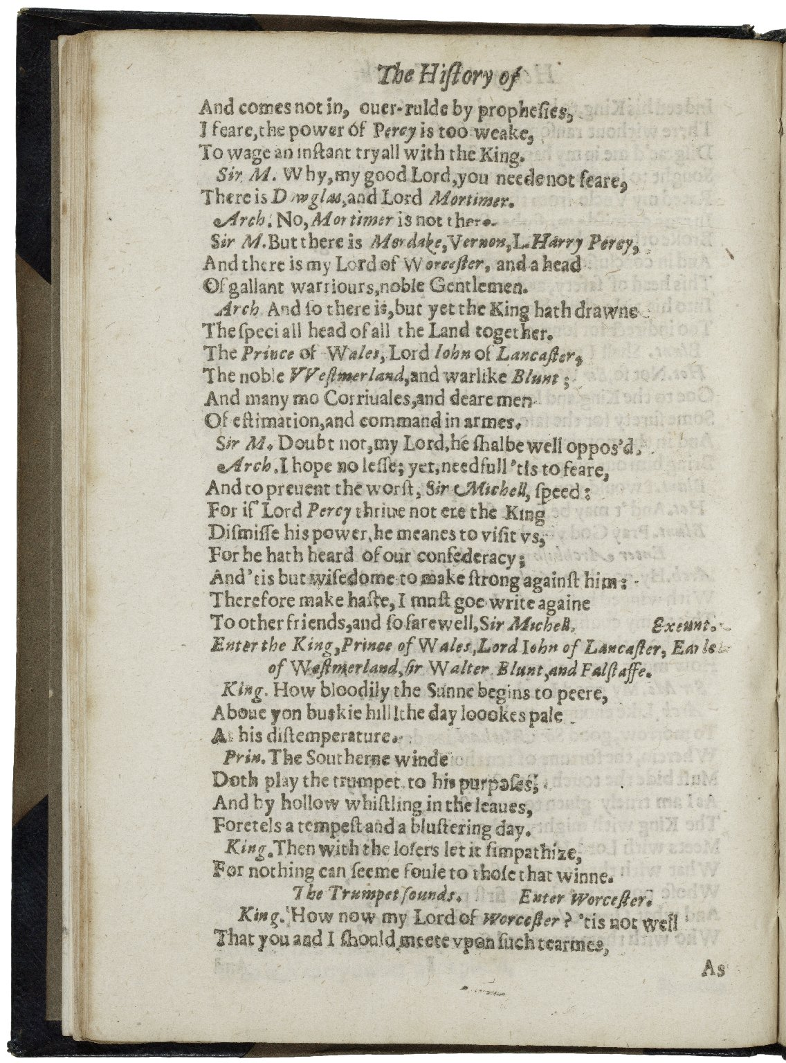 [King Henry IV. Part 1] The historie of Henry the Fourth : vvith the battell at Shrewesbury, betweene the king, and Lord Henry Percy, surnamed Henry Hotspur of the north.
