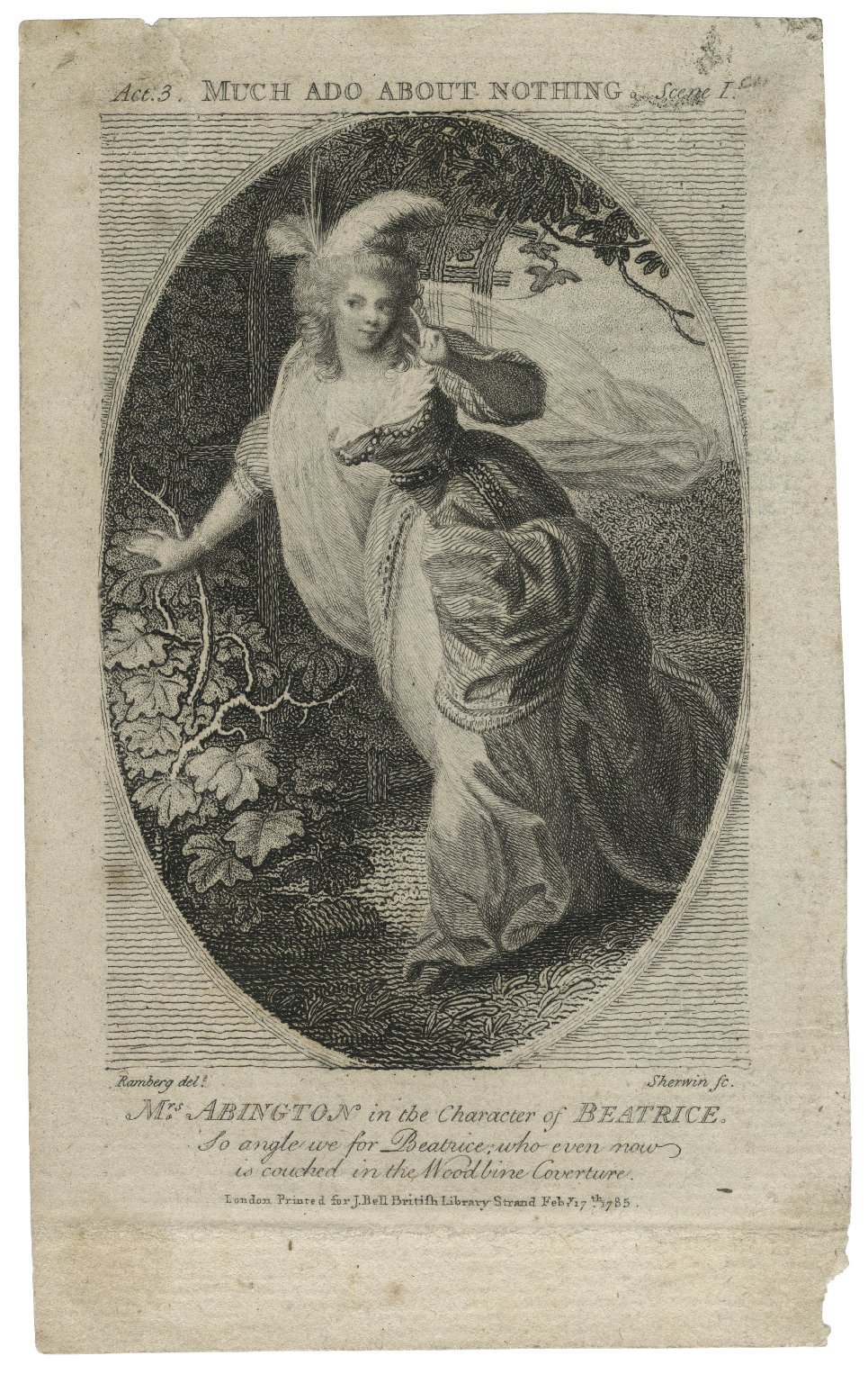 Much ado about nothing, act 3, scene I, Mrs. Abington in the character of Beatrice [graphic] / Ramberg delt. ; Sherwin sc.