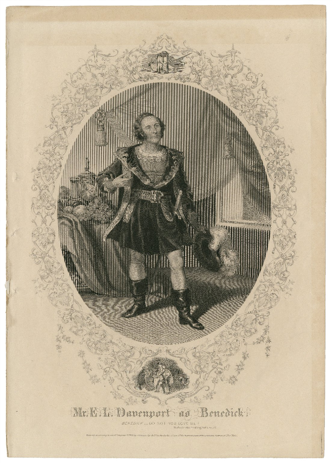 Mr. E.L. Davenport as Benedick ... [in Shakespeare's Much ado about nothing] [graphic].