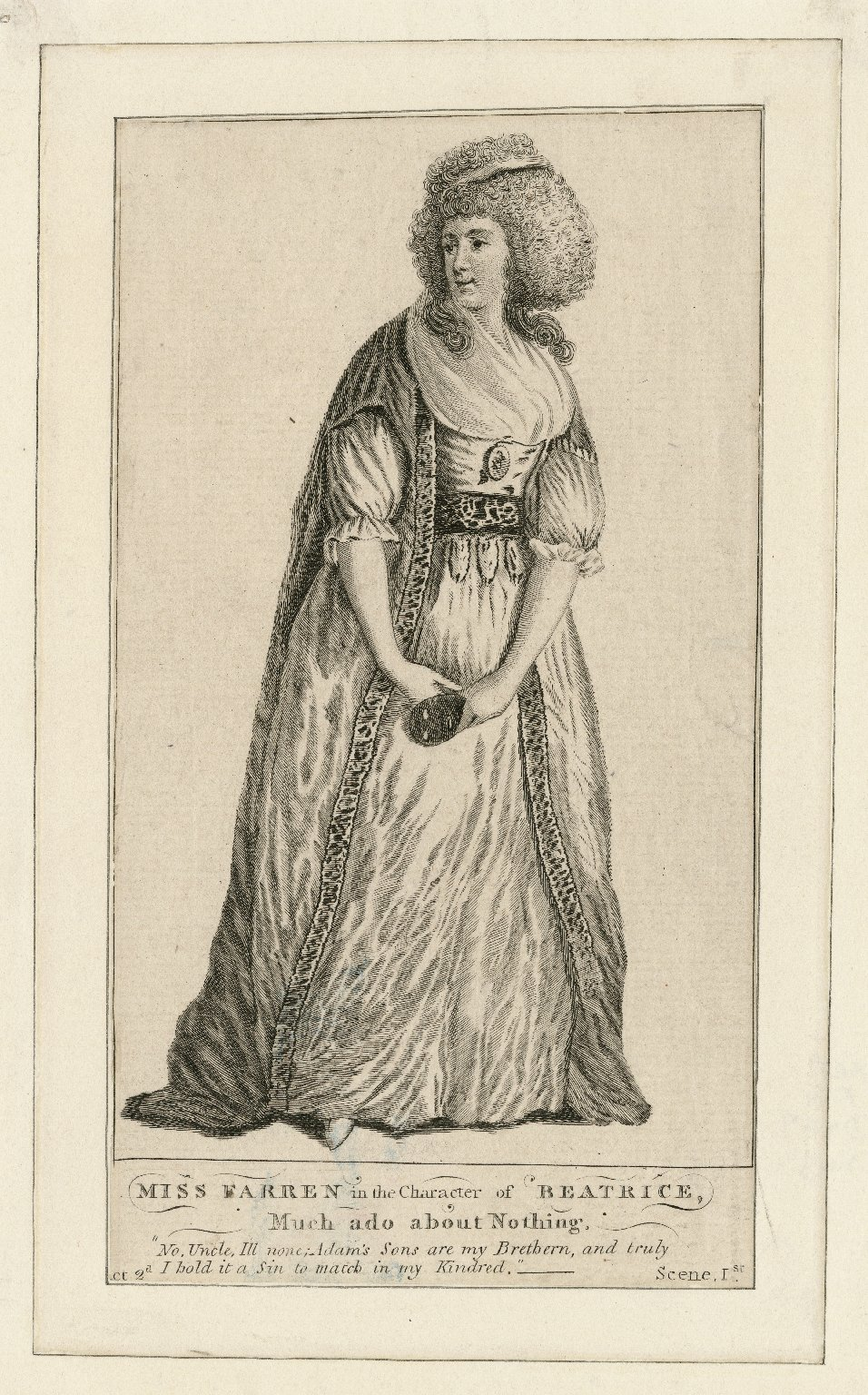 Miss Farren in the character of Beatrice [in Shakespeare's] Much ado about nothing [graphic].