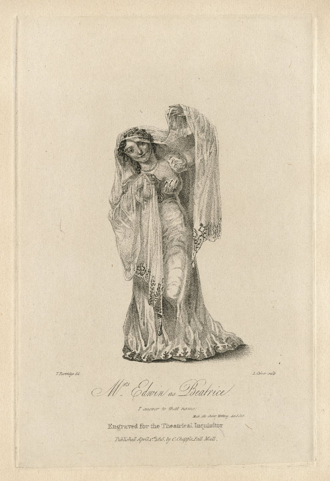 Mrs. Edwin as Beatrice ... [in Shakespeare's Much ado about nothing] [graphic] / I. Partridge, del. ; I. Carver, sculp.