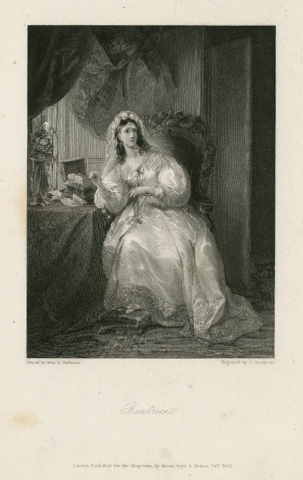 Beatrice [character in Much ado about nothing] [graphic] / painted by Miss F. Corbeaux ; engraved by J. Goodyear.