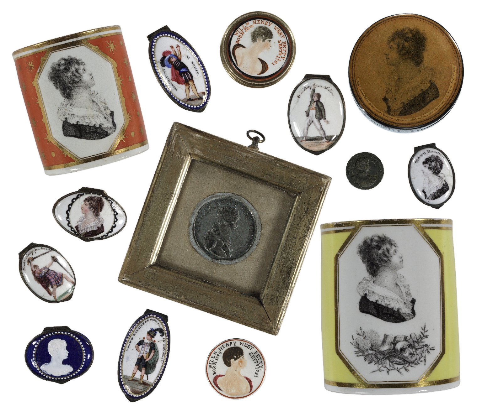 "Enamel boxes and other objects depicting ""Master Betty"" (William Henry West Betty), circa 1805, from the Craven Collection"