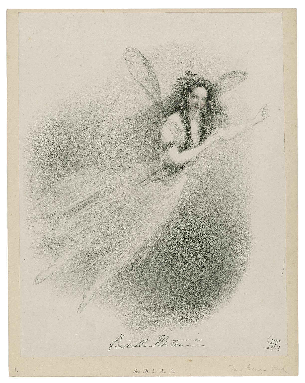 Priscilla Horton [as] Ariel [graphic] : Tempest, act 5, sc. last / Lane ; J. Graf, printer to Her Majesty.