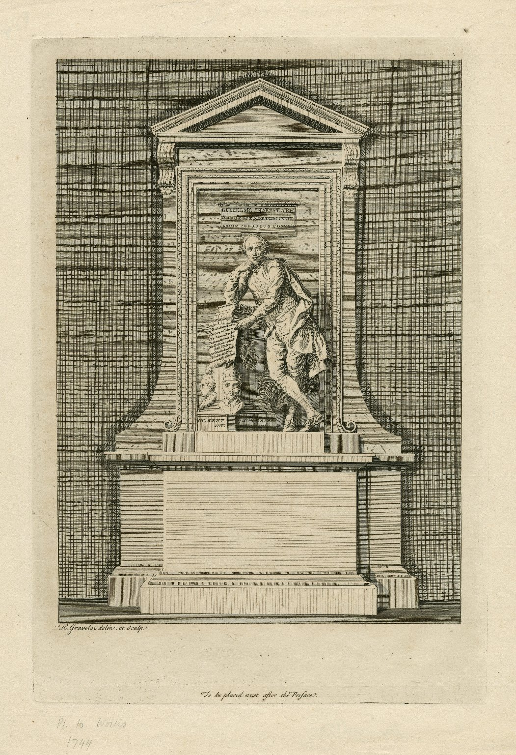 Gulielmo Shakspeare ... [his monument in Westminster Abbey] [graphic] / H. Gravelot, delin. et. sculp.