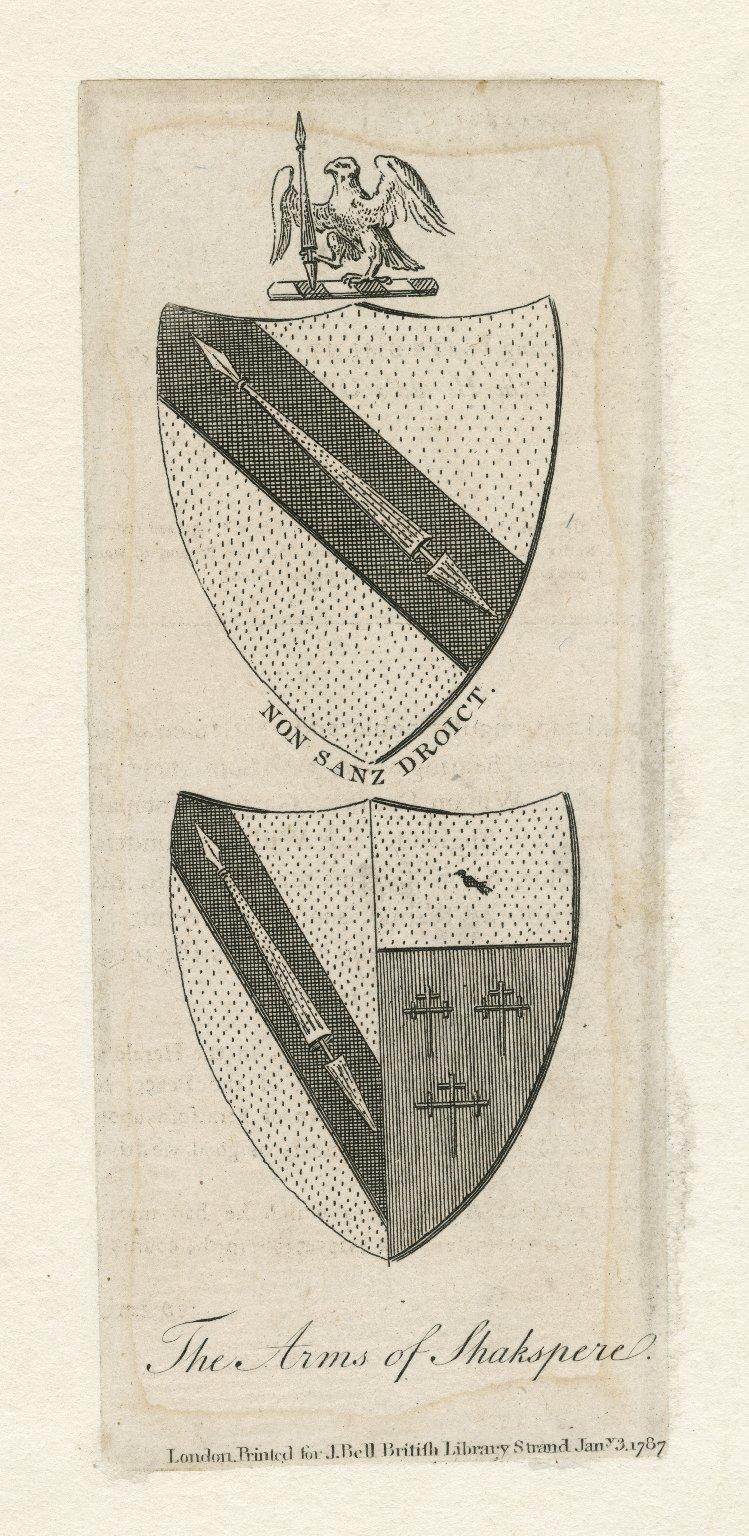The arms of Shakspere, Non Sanz Droict [graphic].