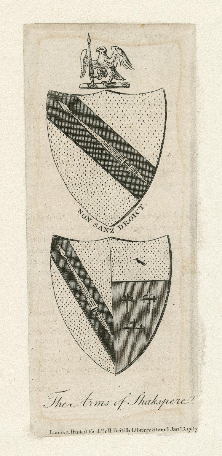 The arms of Shakspere, Non Sanz Droict [graphic].