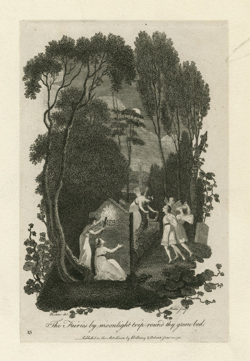 The fairies by moonlight trip round thy green bed [graphic] : [the tomb of Shakespeare] / Richter del. ; Wallis sculp.