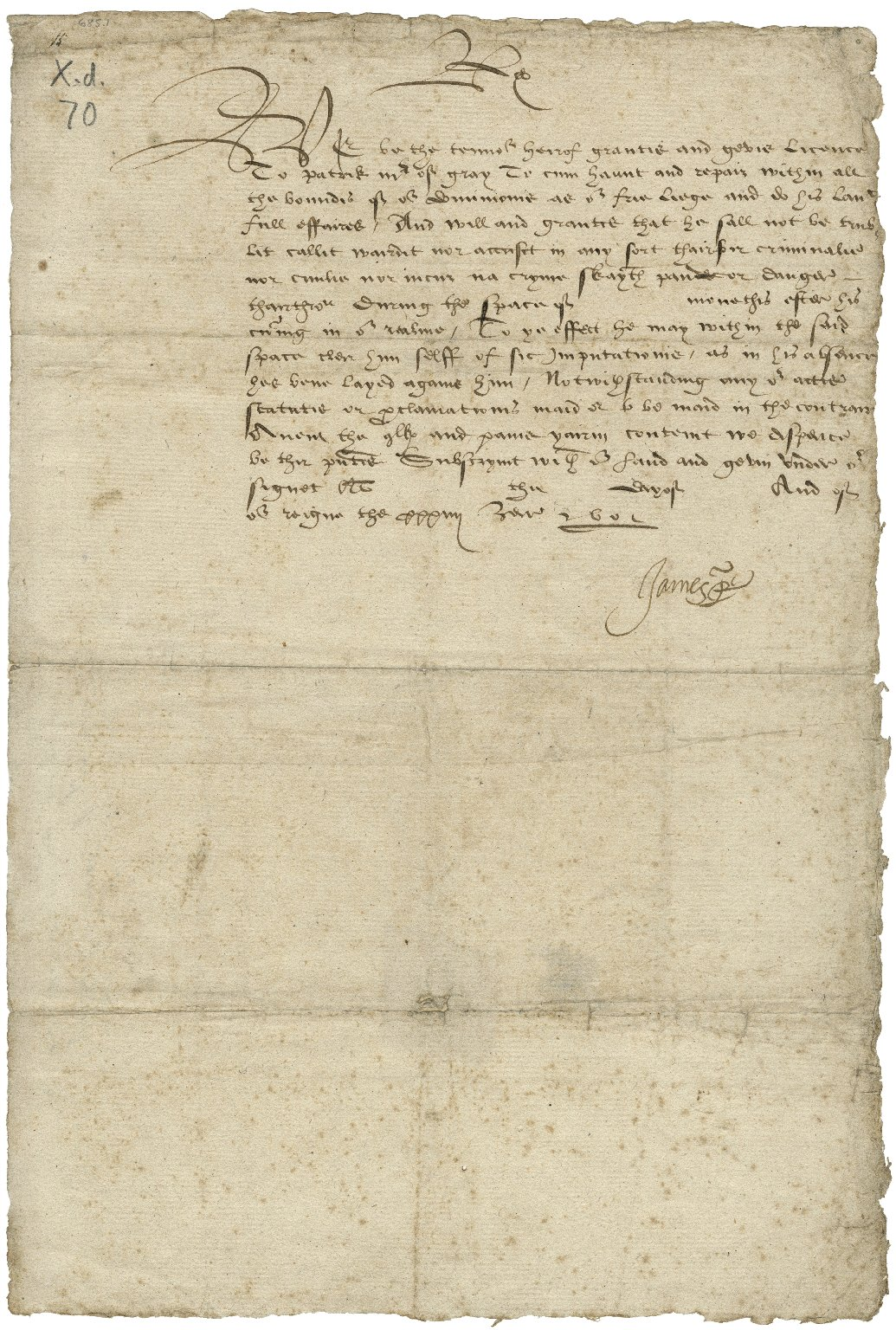 Licence [manuscript]: to Patrick, Master of Gray ...