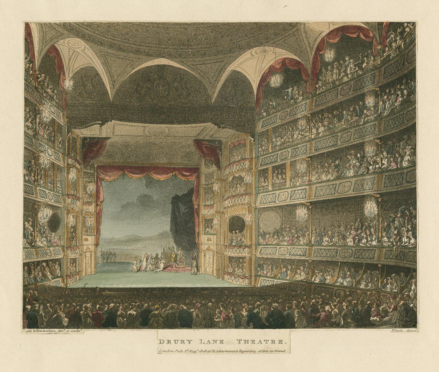 Drury Lane Theatre [graphic] / Pugin & Rowlandson, delt. et sculpt. ; Bluck, aquat.