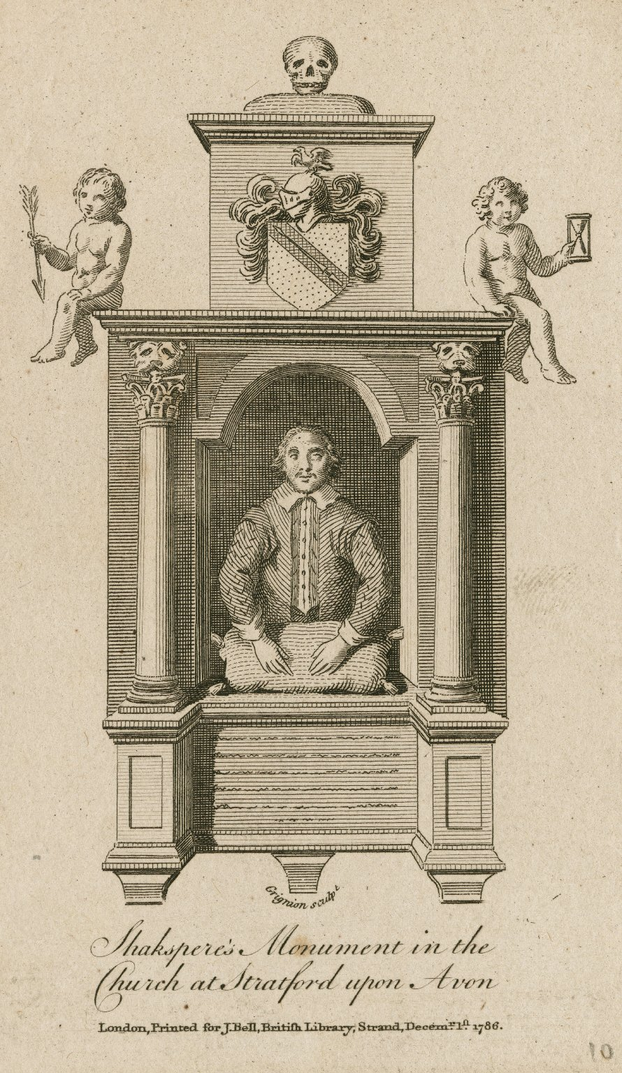 Shakspere's monument in the church at Stratford-upon-Avon [graphic] / Grignion sculpt.