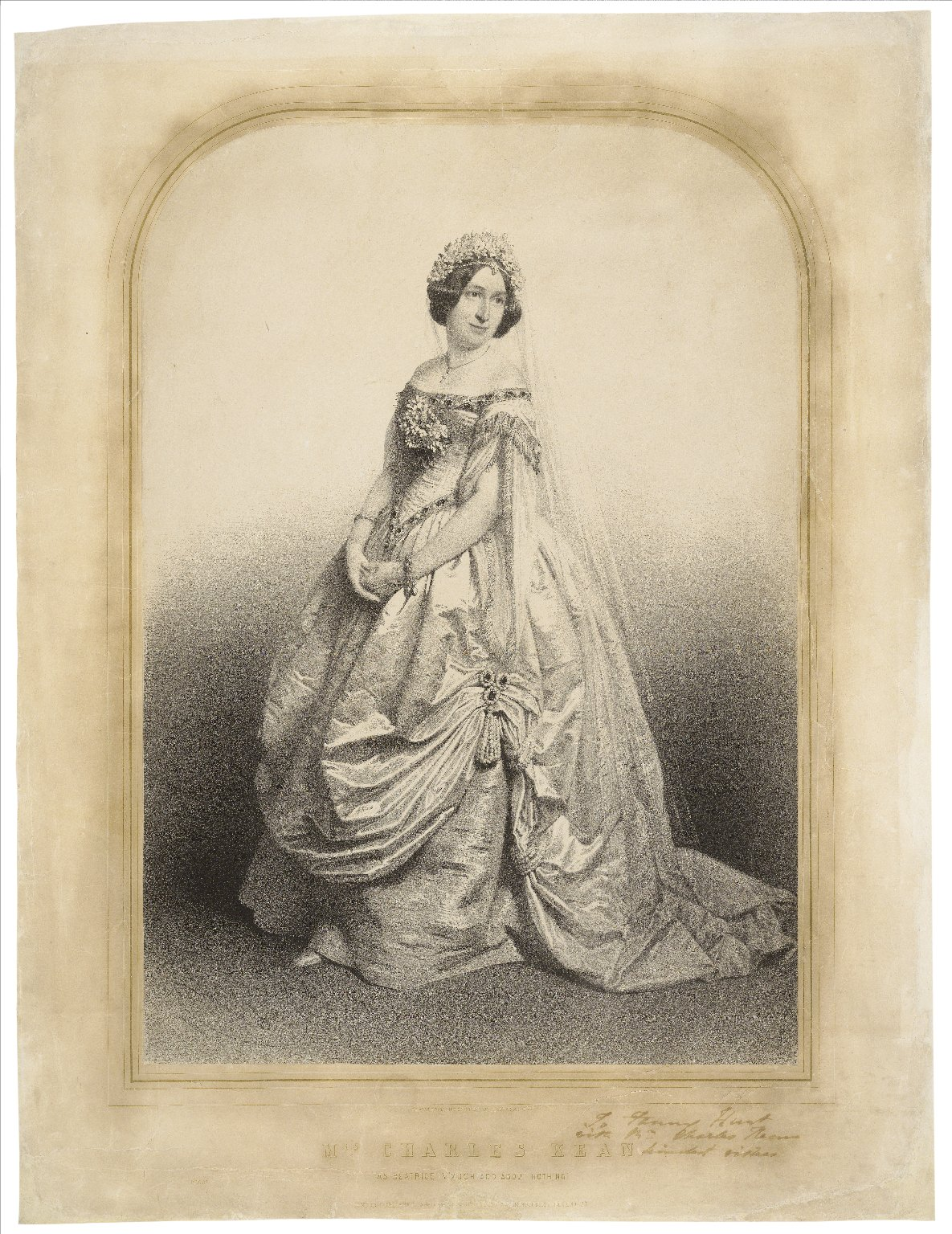 "Mrs. Charles Kean as Beatrice in ""Much Ado about Nothing"" [graphic] / drawn from life on stone by C. Baugniet."