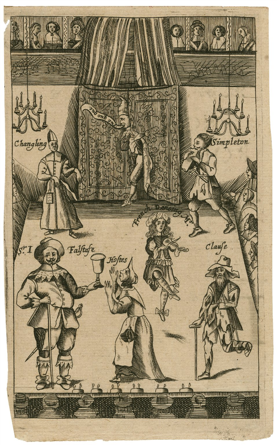 [An English stage showing Sir John Falstaff and Mrs. Quickly in the foreground] [graphic].