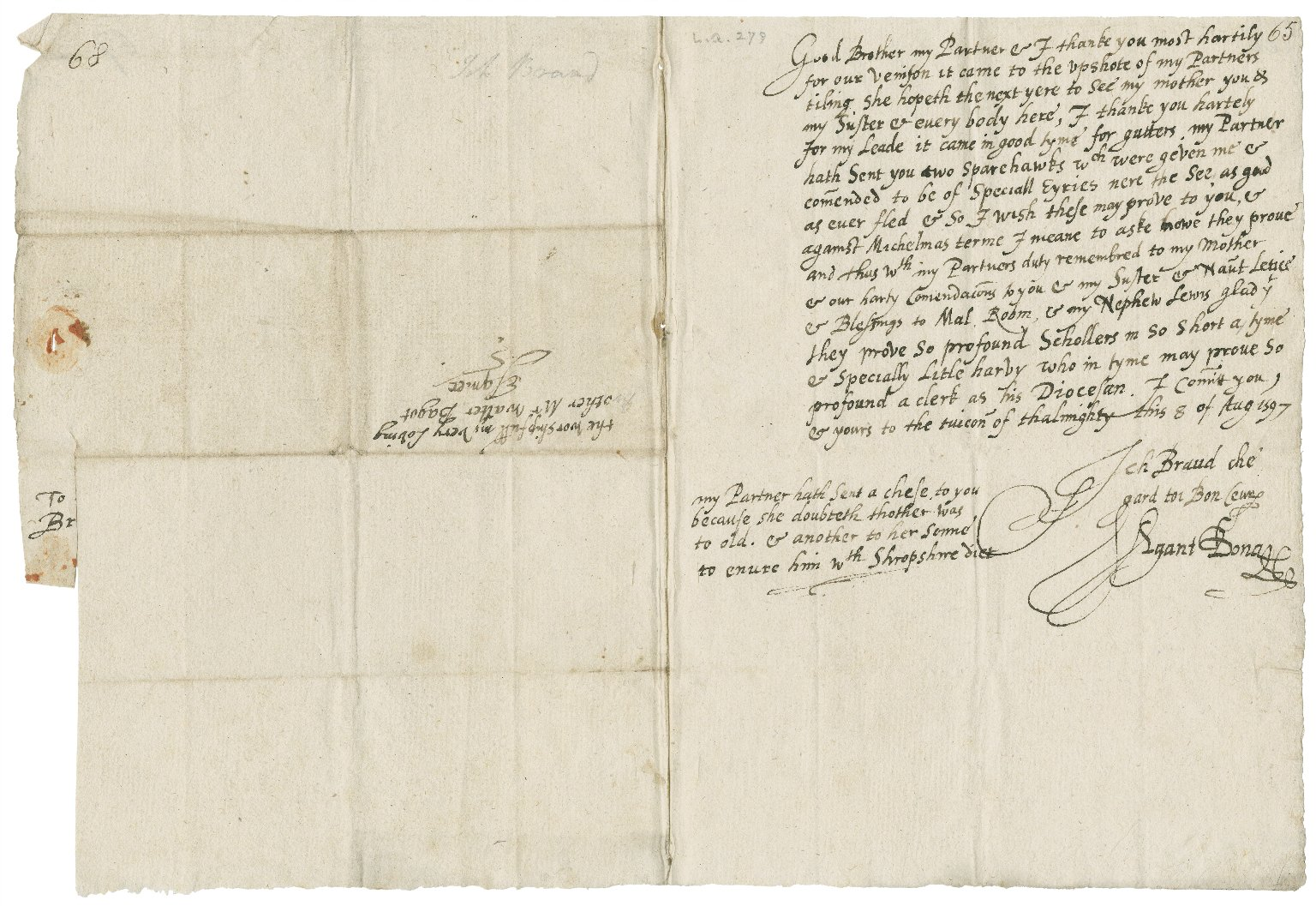 Letter from Richard Broughton (Richard Bagot's son-in-law) and Anne Broughton to Walter Bagot, 1597 August 8