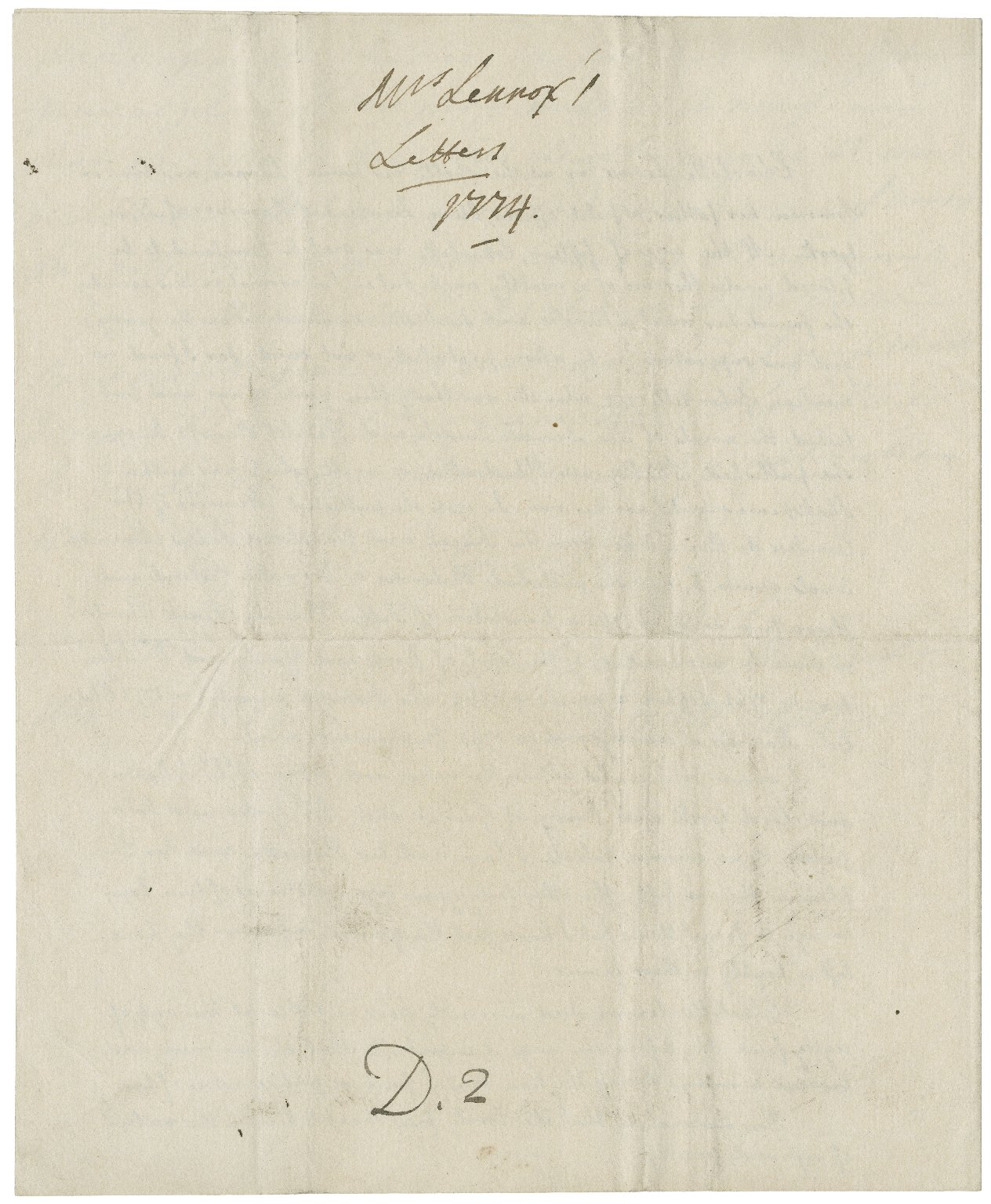 Autograph letter signed from Charlotte Lennox to David Garrick [manuscript], 1774 August 4.