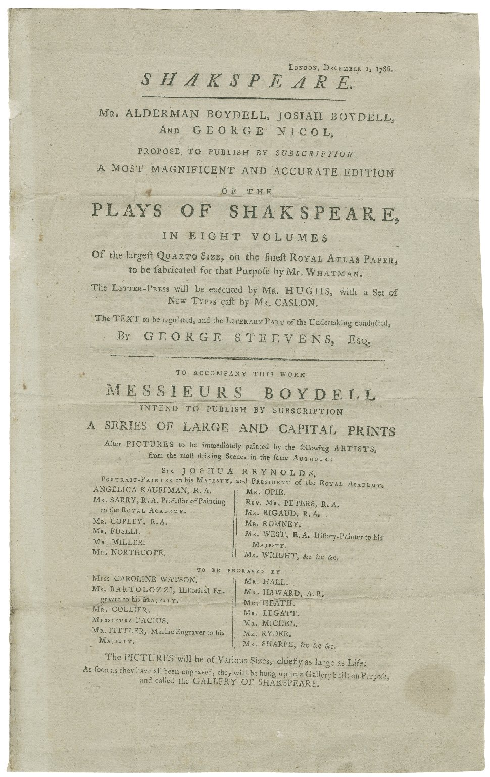 Mr. Alderman Boydell, Josiah Boydell, and George Nicol propose to publish by subscription a most magnificent and accurate edition of the Plays of Shakspeare