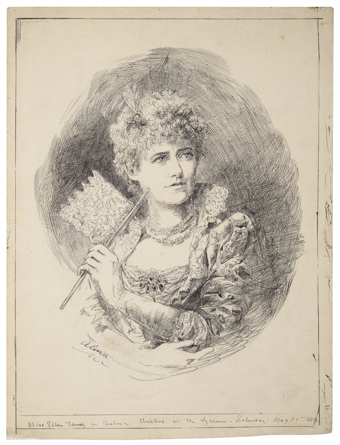 Miss Ellen Terry as Beatrice, sketched at the Lyceum, Saturday May 31, 1884 [graphic] / Alma.