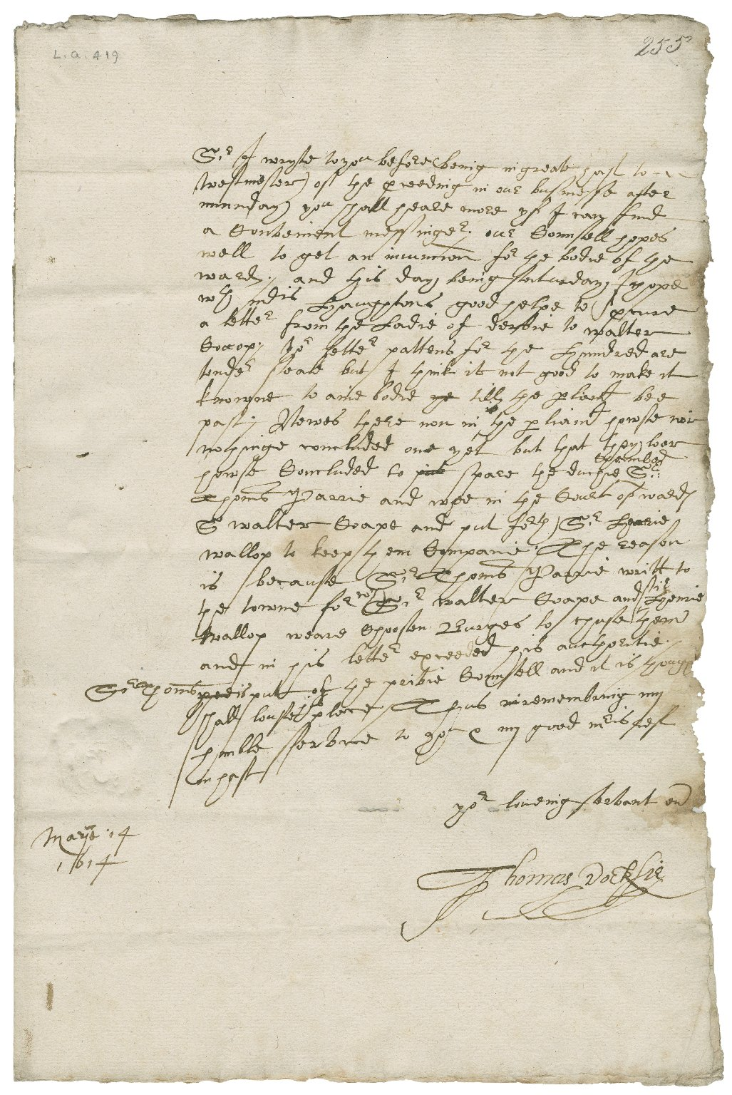 Letter from Thomas Docksie to Walter Bagot