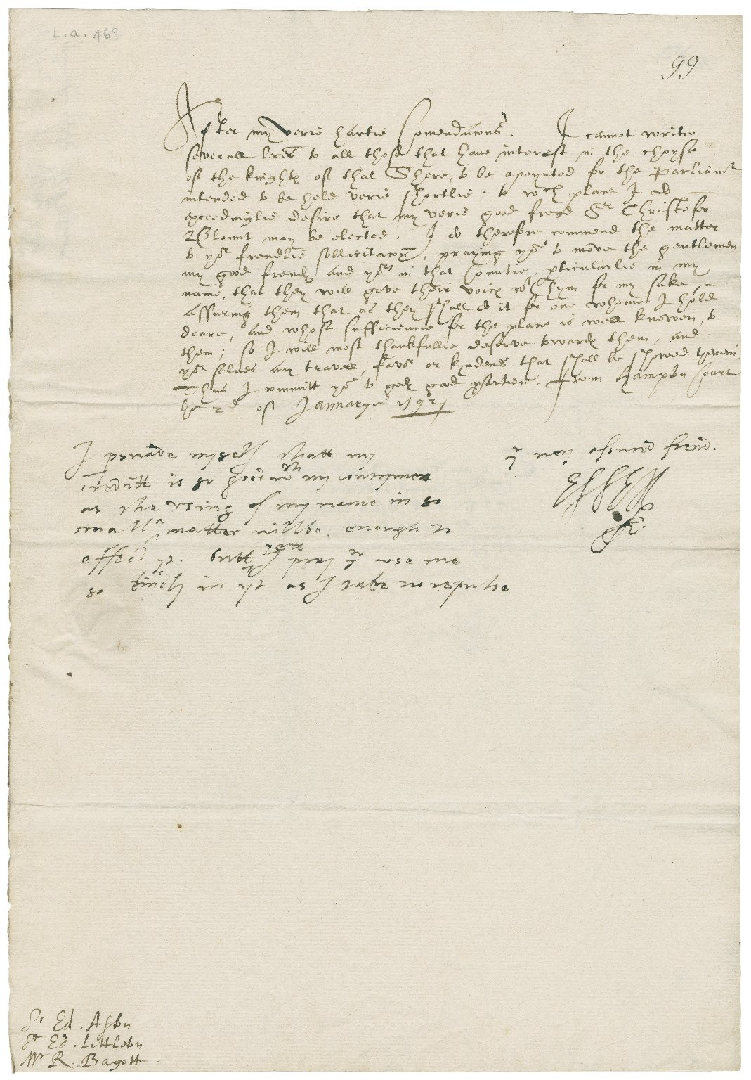 Letter from Robert Devereux, Earl of Essex, Hampton Court, to Sir Edward Littleton, Sir Edward Aston, and Richard Bagot
