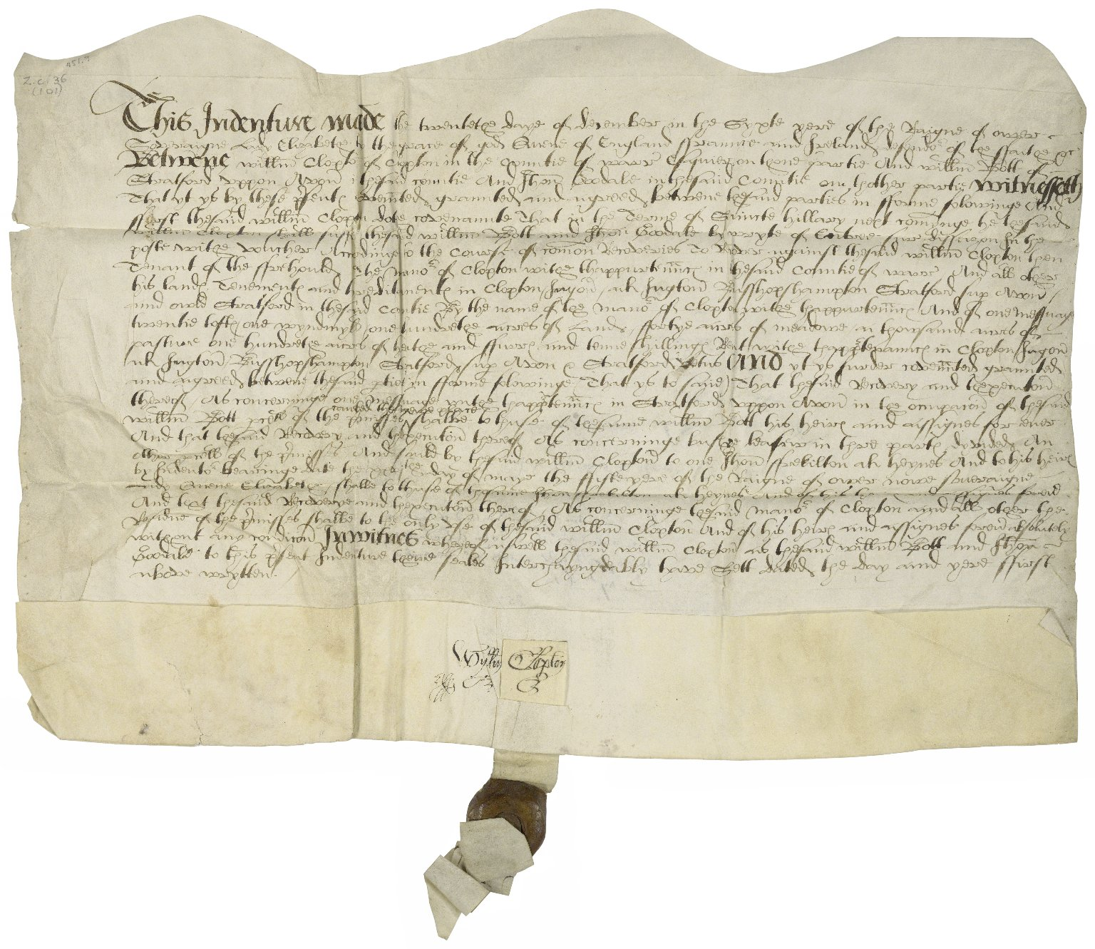 Deed to lead uses from William Clopton to William Bott of Stratford and Thomas Goodale [manuscript], 1563 December 20.