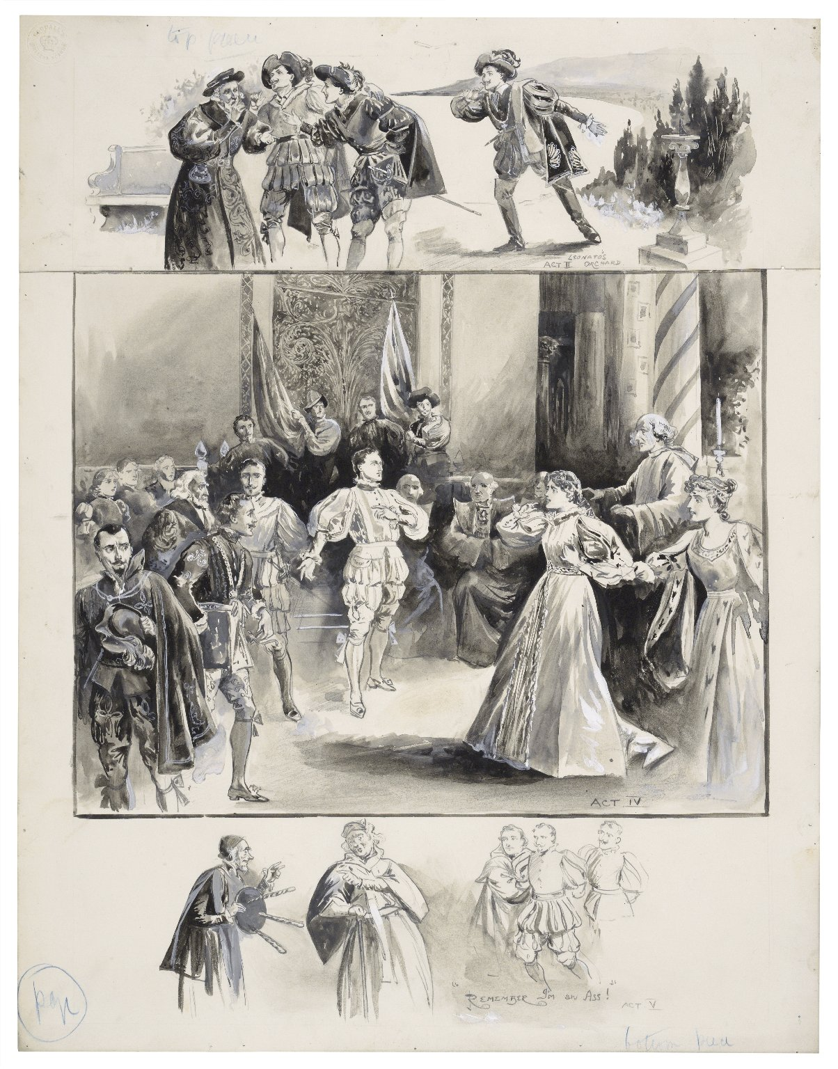 "[Shakespeare's Much ado about nothing at the St. James theatre, 3 scenes reading from top to bottom: 1. Act II - Leonato's Orchard, 2. Act IV, 3. Act V - ""Remember I'm an ass!""] [graphic] / [John Jellicoe]."