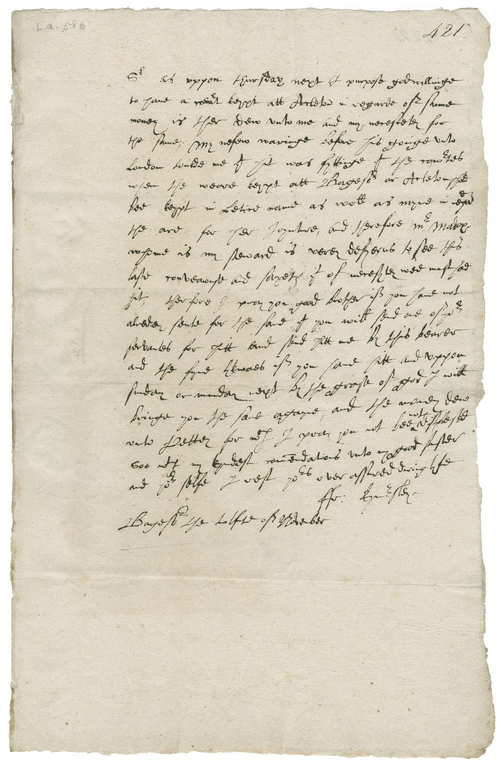 Letter from Francis Kynnersley, Badger, to Walter Bagot