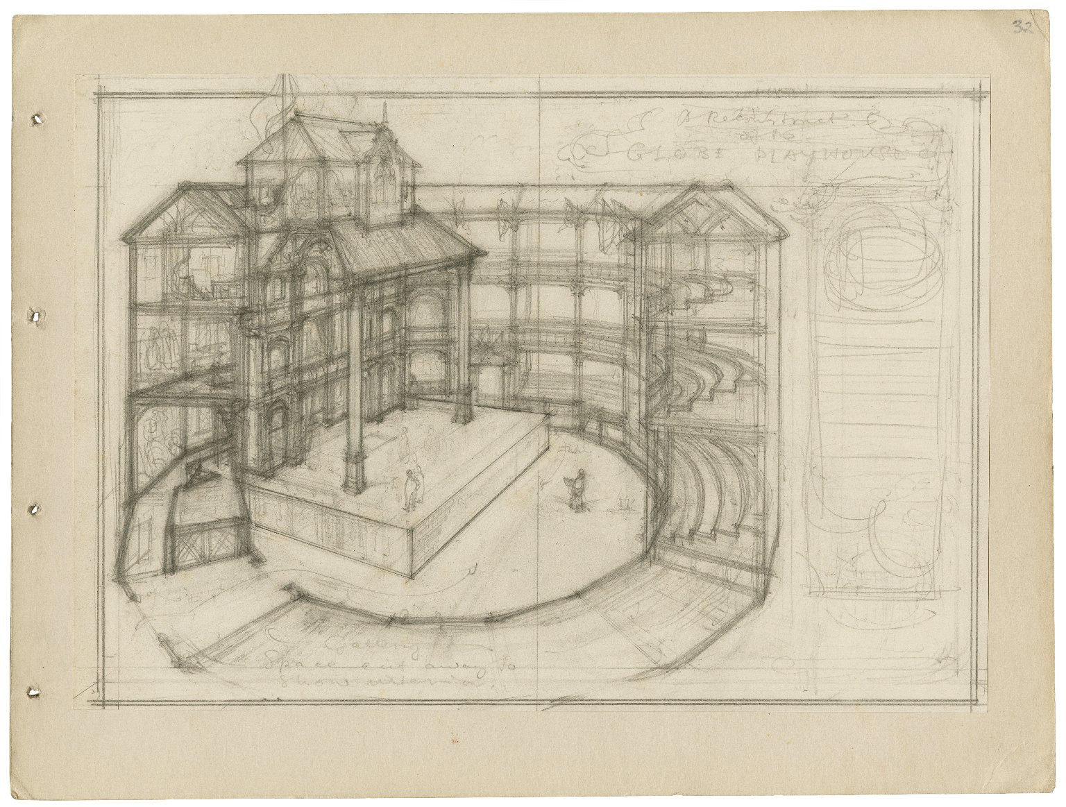 The Globe playhouse. Preparatory drawing in pencil for a fully developed reconstruction (pen and ink illustration later published in Shakespeare and the Players).