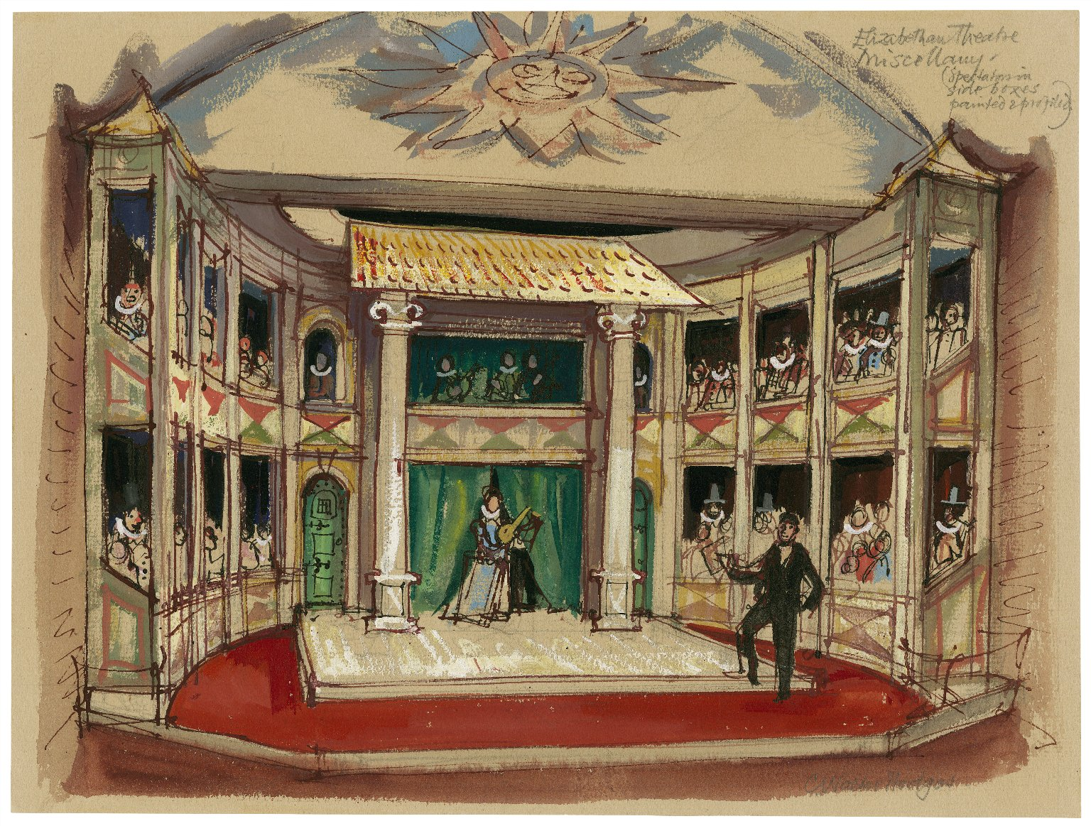 "Mermaid theatre set design as ""Elizabethan theatre"" for miscellany programme The Canker and the Rose"
