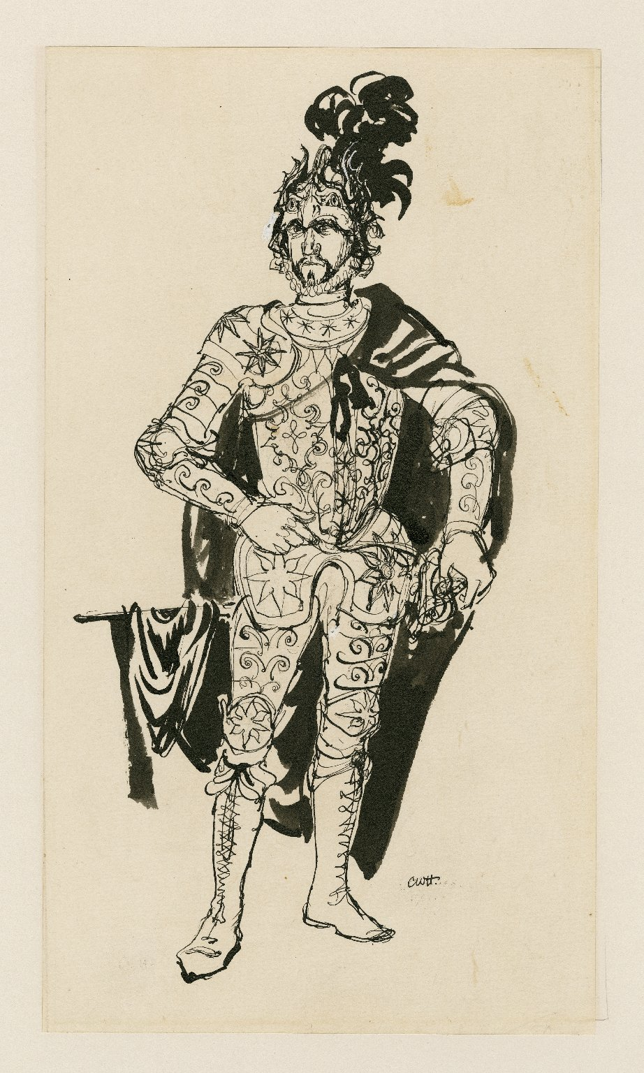 Macbeth in armor, drawing for programme