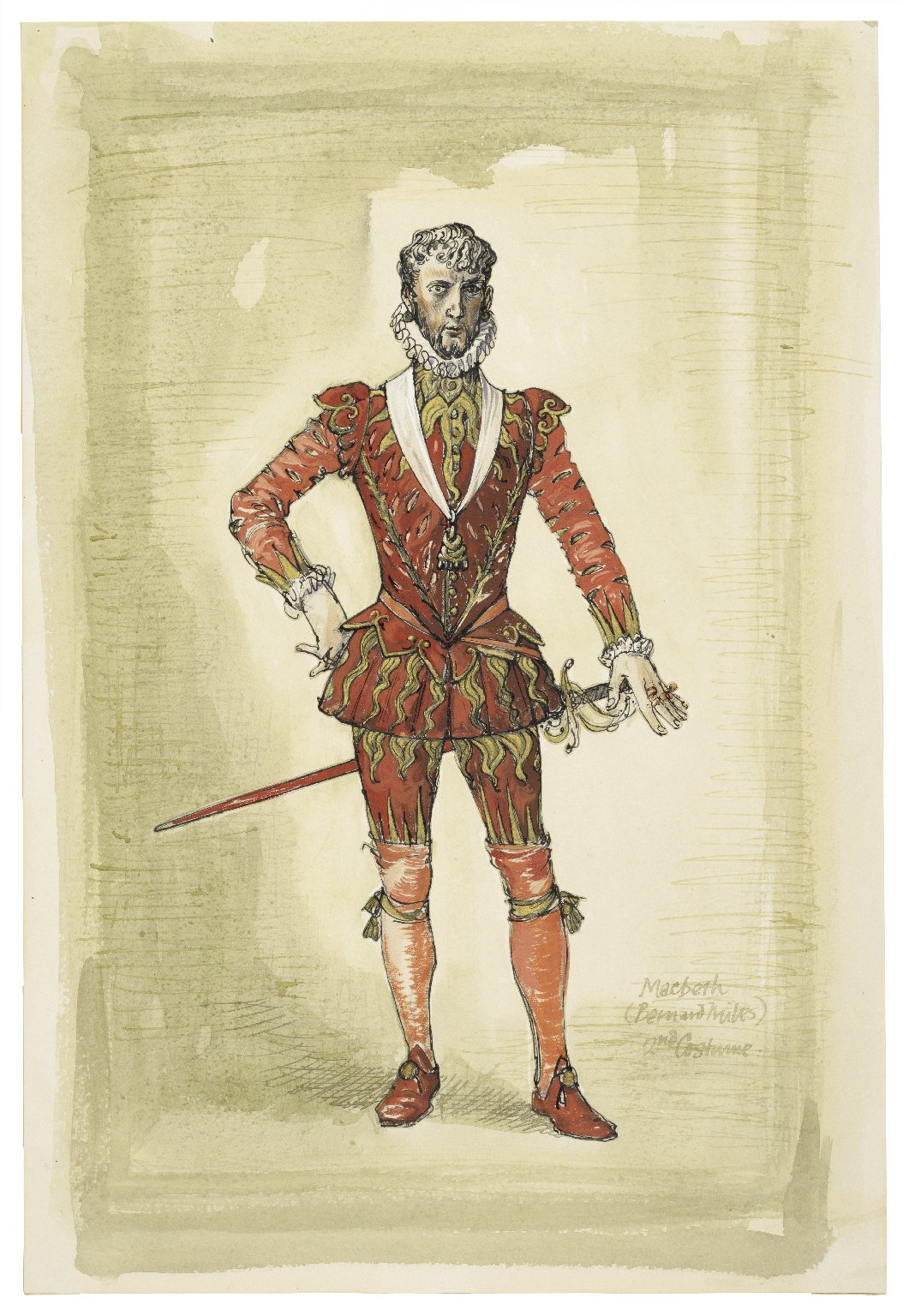 Costume design for Macbeth (Bernard Miles)