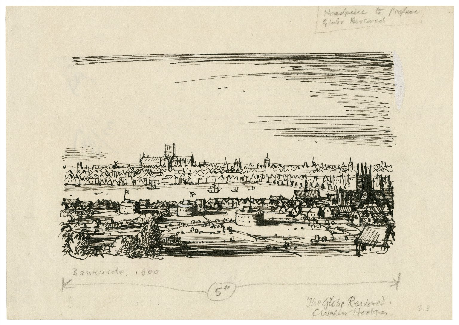 Sketch view of London with Bankside and the theatres ca. 1595