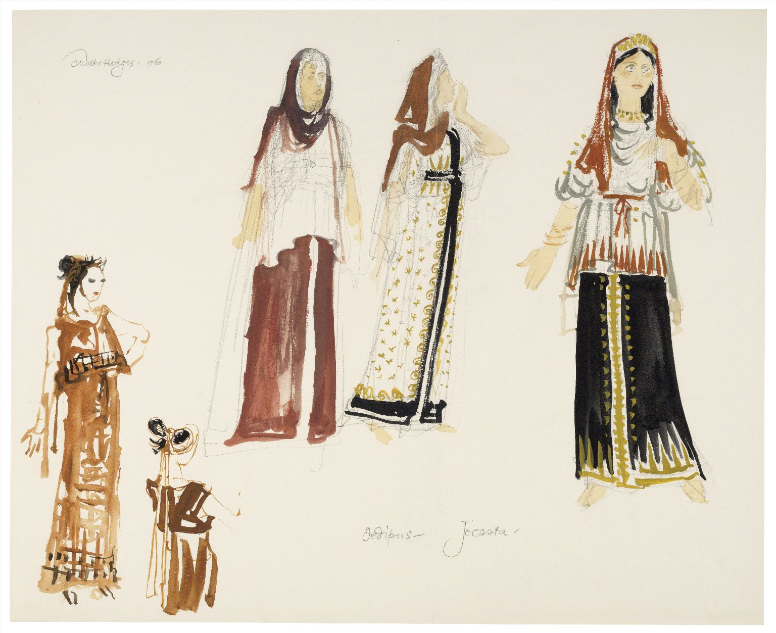 Oedipus Rex, costume drawings for Jocasta