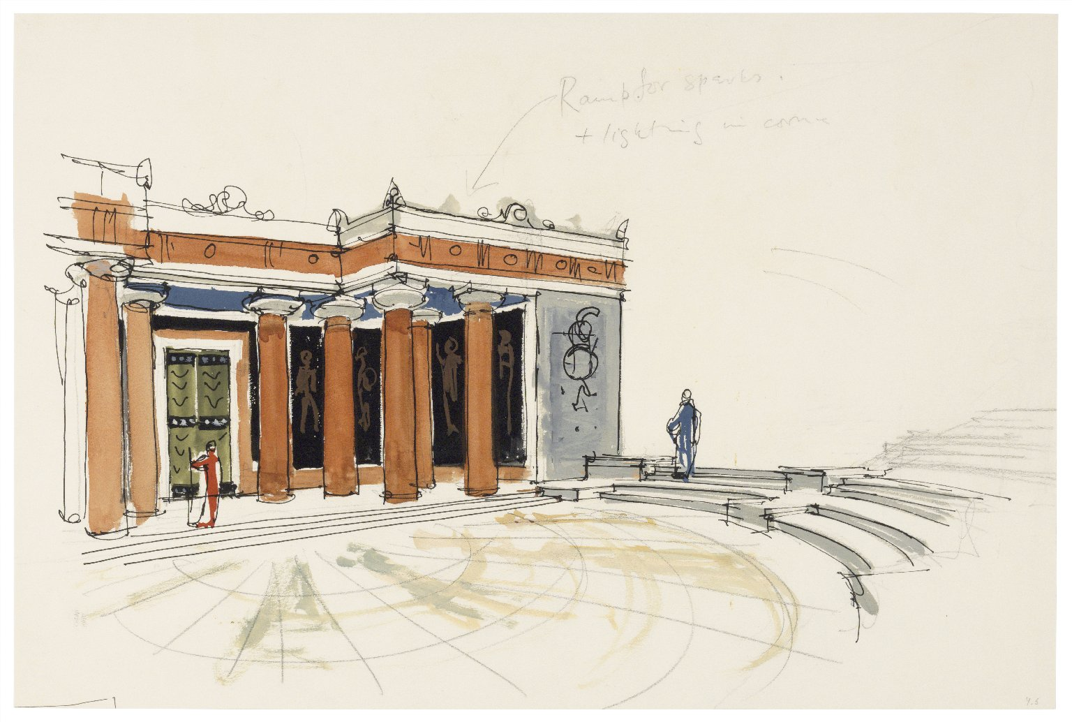 Oedipus Rex, sketch for proposed setting as Greek theater