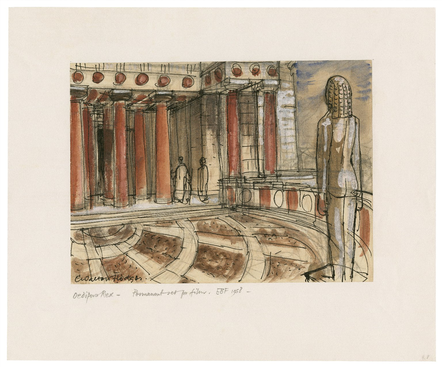 Oedipus Rex, the theater, with statue of Apollo